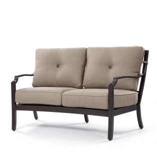 Bellevue curved love seat with Sailcloth Shadow cushions