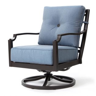Bellevue swivel lounge chair with Spectrum Denim fabric