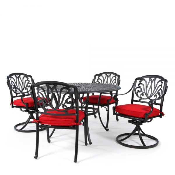Biscayne 5 piece dining group with Sunbrella Canvas Jockey Red cushions