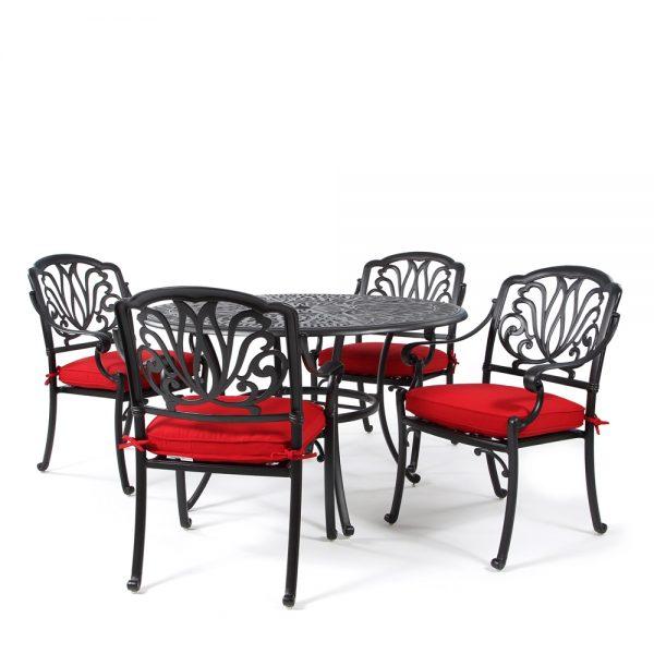 Biscayne 5 piece dining set with Sunbrella Canvas Jockey Red cushions