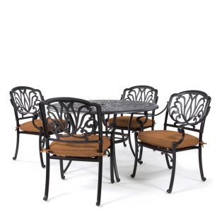 Biscayne 5 piece dining set with Sunbrella Canvas Teak cushions
