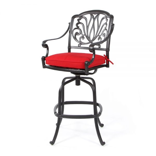 Biscayne swivel barstool with Sunbrella Canvas Jockey Red fabric