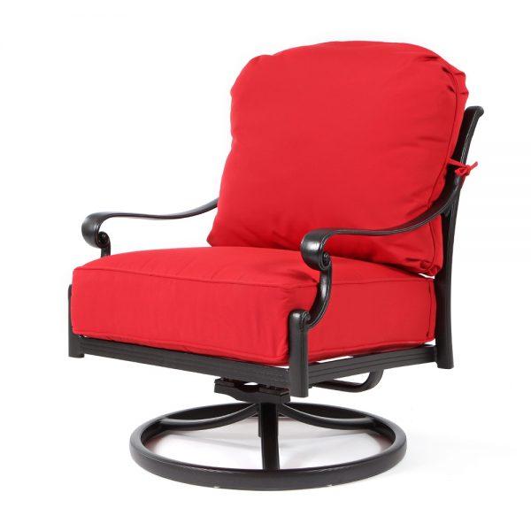 Biscayne swivel rocker club chair with Canvas Jockey Red fabric