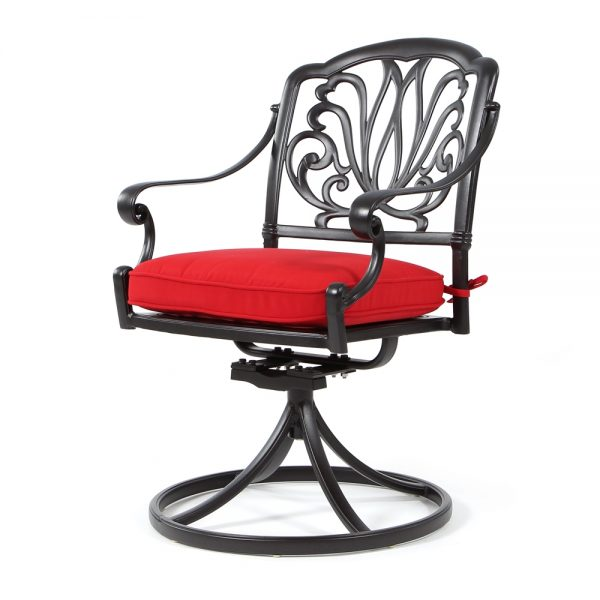 Biscayne swivel rocker dining chair with Sunbrella Canvas Jockey Red fabric