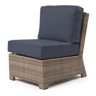 Cabo armless middle section with a Willow weave and Spectrum Indigo cushions