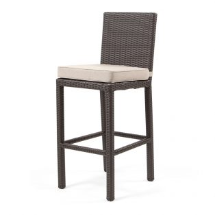 Cabo armless barstool with Jacobean weave and Blend Sand cushion