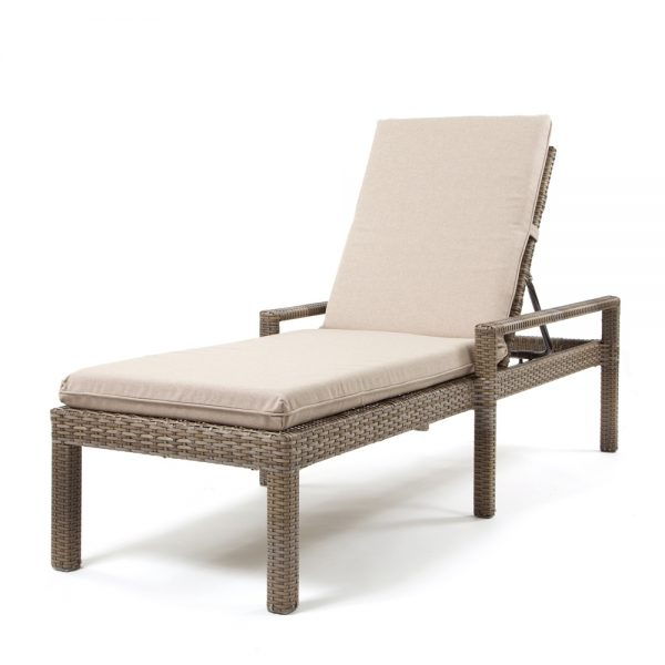 Cabo wicker chaise lounge with a willow weave and Blend Sand fabric