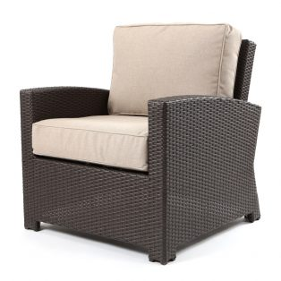 Cabo club chair with a Jacobean weave and Blend Sand cushions