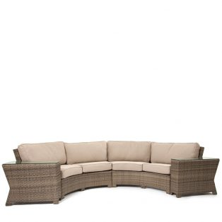 Cabo wicker double contour sofa with wedge tables