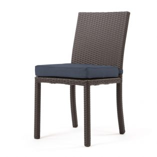 Cabo dining side chair with a Jacobean weave and Spectrum Indigo cushion