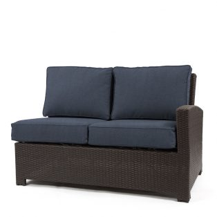 Cabo wicker right arm facing love seat section with a Jacobean weave and Spectrum Indigo cushions