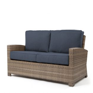 Cabo love seat with a Willow weave and Spectrum Indigo cushions