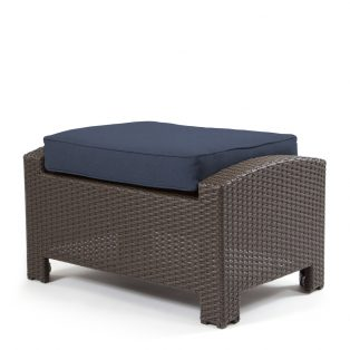 Cabo ottoman with a Jacobean weave and Spectrum Indigo cushion
