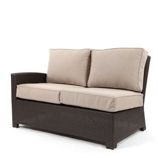 Cabo wicker left arm facing love seat section with a Jacobean weave and Blend Sand cushions