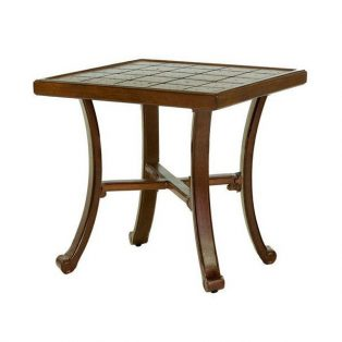 "Castelle 20"" square vintage cast side table with tile cast top"