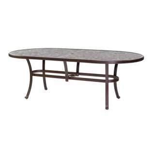 "Castelle 44"" x 86"" oval vintage cast dining table"