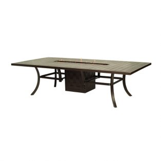 """Castelle 54"""" x 108"""" rectangular classical dining table with firepit with tiled cast top"""