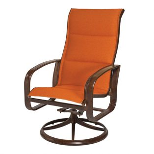Cayman Isle padded sling high back swivel rocker dining chair
