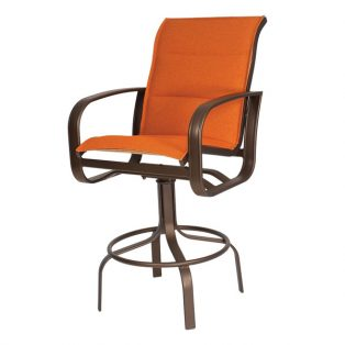 Cayman Isle padded sling outdoor swivel barstool