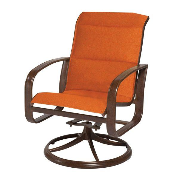 Cayman Isle padded sling swivel rocker dining chair