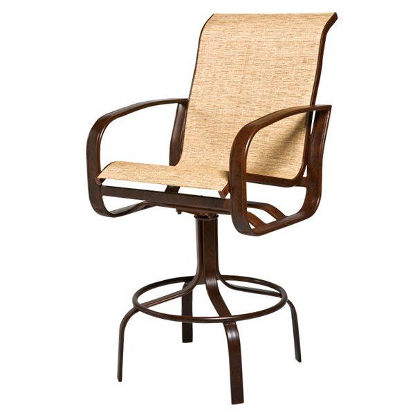"Woodard Cayman Isle sling 29"" swivel bar stool"
