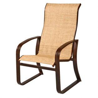 Woodard Cayman Isle sling outdoor aluminum high back dining chair