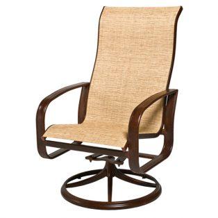 Woodard Cayman Isle sling hi-back swivel rocker dining chair