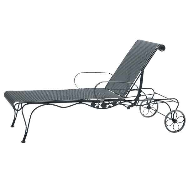 Briarwood wrought iron chaise lounge with wheels