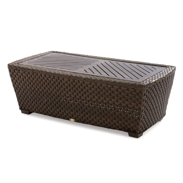 Leeward wicker cocktail table with aluminum top