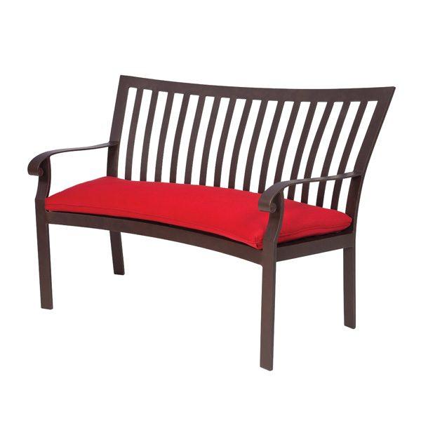 Cortland aluminum outdoor crescent shaped bench