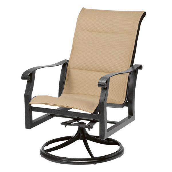 Woodard Cortland padded sling high back swivel rocker dining chair
