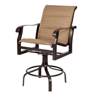 Woodard Cortland padded sling swivel bar stool