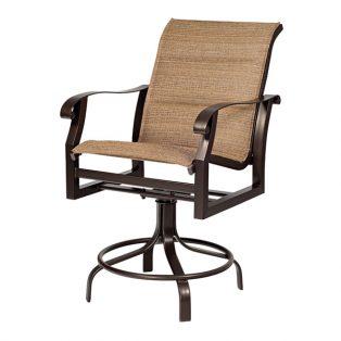 Woodard Cortland padded sling swivel counter stool