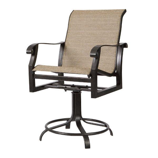 Woodard Cortland sling aluminum counter stool