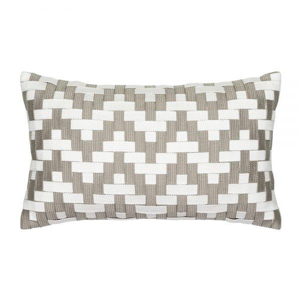 Elaine Smith Alabaster Basketweave designer outdoor lumbar pillow