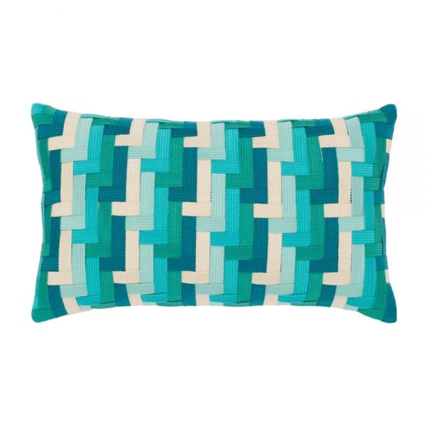 Elaine Smith Aqua Basketweave designer lumbar pillow