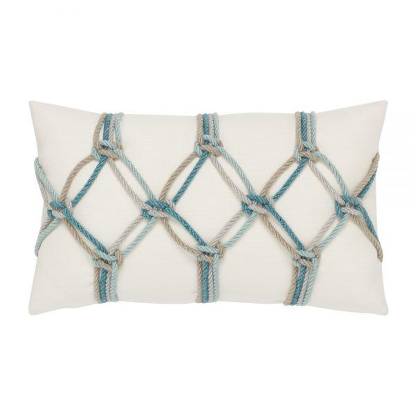Aqua Rope Elaine Smith outdoor lumbar pillow