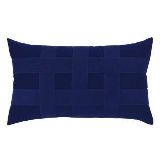Elaine Smith Basketweave Navy designer lumbar pillow