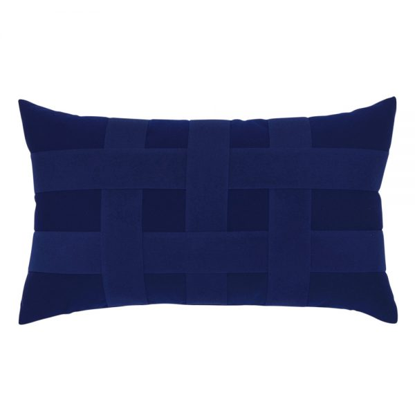 Elaine Smith Basketweave Navy designer lumbar pillow