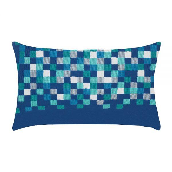 Elaine Smith Cobalt Check Lumbar designer outdoor lumbar pillow