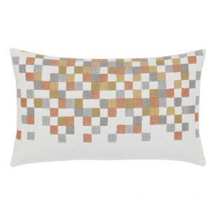 Elaine Smith Metallic Check designer lumbar pillow