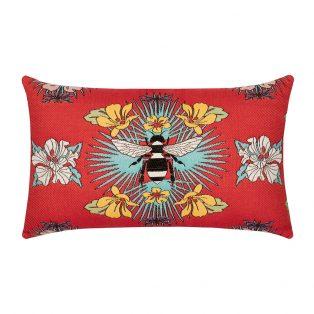 Elaine Smith designer outdoor lumbar pillow - Tropical Bee