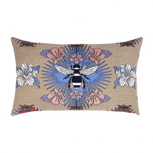 Elaine Smith Tropical Bee Capri designer outdoor lumbar pillow
