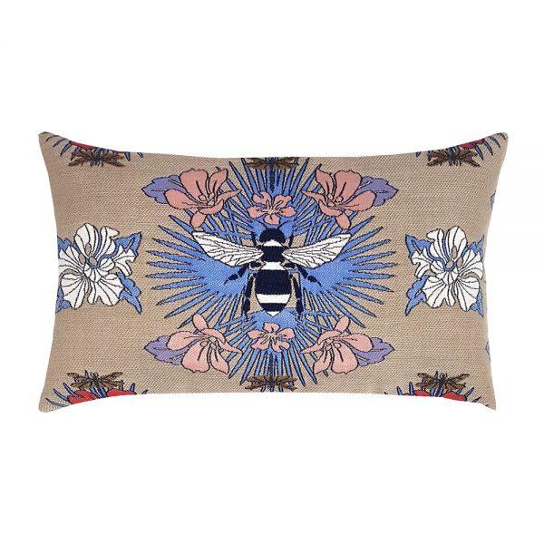 Elaine Smith Tropical Bee Capri designer outdoor lumbar pillow