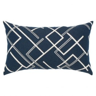 Elaine Smith Divergence Indigo designer outdoor lumbar pillow