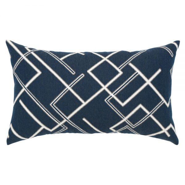 Elaine Smith Divergence Indigo designer outdoor lumbar pillow