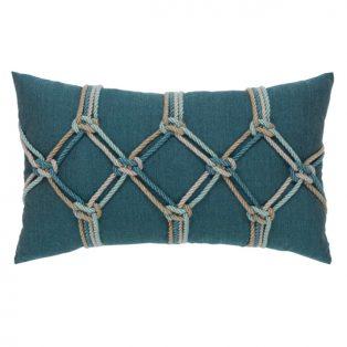 Elaine Smith designer outdoor lumbar pillow - Lagoon Rope