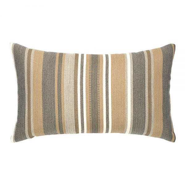 Elaine Smith designer outdoor lumbar pillow - Grigio Stripe
