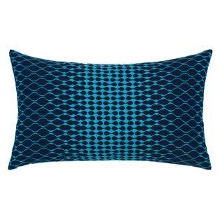 Elaine Smith Optic Azure designer outdoor lumbar pillow