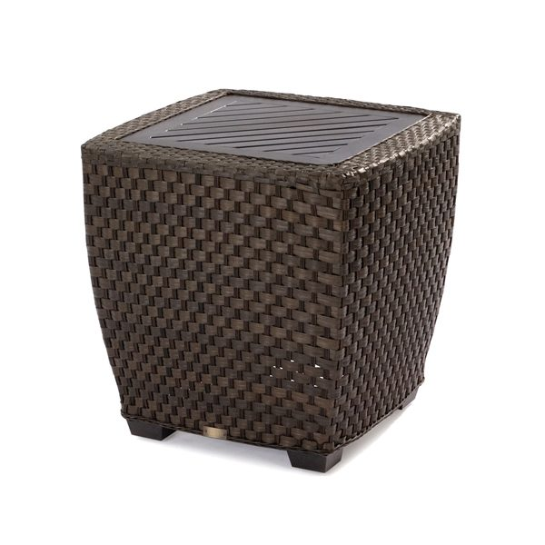 Leeward wicker end table with aluminum top